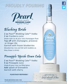 Check out our new flavor Peach Pearl Wedding Cake Vodka