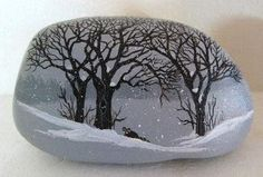 Hand painted rock-art-paintings-snow scene w/ raccoon Martha Winenger (12/22/2012)