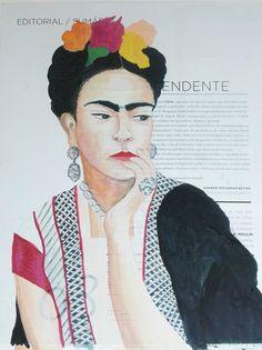 Guache sobre colagem - retrato Frida kahlo