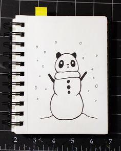Panduhmonium 31 Days of Inktober - Day 7 Panda Art, 31 Days, Cute Food, Inktober, Kawaii, Draw, Japan, Artwork, Anime