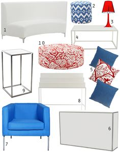 Red, white and blue furniture for 4th of July inspired events #eventdecor #furniturerental #eventfurnishings