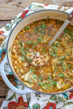 Spicy sausage, tender white beans, fresh cabbage, hearty broth, and plenty of Mexican spices come together in this delicious cabbage soup recipe that your whole family is going to love. I've partnered with Zoup! Cabbage And Beef, Cabbage Soup Recipes, Mexican Food Recipes, Dinner Recipes, Mexican Dishes, Dinner Ideas, Gumbo Recipes, Chowder Recipes, Fruit Recipes