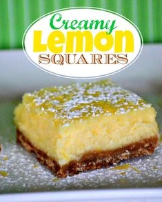 Creamy Lemon Squares Recipe -Tastes like a lemon cheesecake - so creamy and delicious! This easy dessert recipe is perfect for the lemon lover in your life! Lemon Desserts, Lemon Recipes, Just Desserts, Sweet Recipes, Eat Dessert First, Dessert Bars, Lemon Squares Recipe, Cookie Recipes, Dessert Recipes