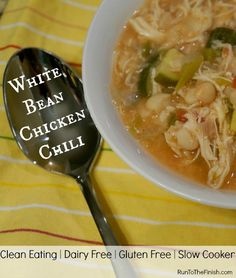 Clean eating White bean chicken chili - easy weeknight dinner in the crockpot, dairy free, gluten free