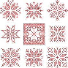 Set of 9 cross-stitch snowflakes pattern, Scandinavian style. Geometric redwork ornament for embroidery. Perfect for Christmas design. Vector illustration - Set of 9 cross-stitch snowflakes pattern, Scandinavian style. Cross Stitch Christmas Ornaments, Xmas Cross Stitch, Christmas Embroidery, Cross Stitch Kits, Christmas Cross, Counted Cross Stitch Patterns, Cross Stitch Designs, Cross Stitching, Cross Stitch Embroidery