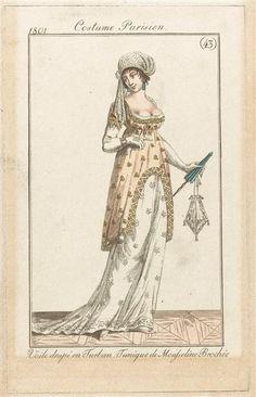 Costume parisien, voile drapé en turban, tunique de mousseline brochée, 1801