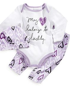 I love it I cant find a lot of stuff that says daddy most of it says mommy First Impressions Baby Set, Baby Girls Hat, Bodysuit and Pants - Kids Baby Girl months) - Macys Baby Outfits, Outfits Niños, Newborn Outfits, Baby Set, Baby Baby, My Baby Girl, My Little Girl, Baby Girls, Baby Girl Purple