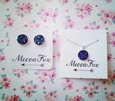 Cute blue druzy jewelry gifts set! Only $20 on meccafox.bigcartel.com