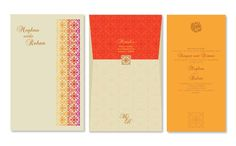 A simple wedding card with inserts used in bright Indian colours. A laser cut done on the jacket of the card.