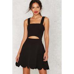 Teagan Cutout Mini Dress ($78) ❤ liked on Polyvore featuring dresses, black, fit and flare dress, short cut out dresses, scallop trim dress, zipper dress and cut out mini dress