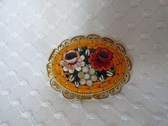Vintage Micro Mosaic Brooch with Floral Design. by BBGIMAGINATIONS