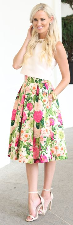 Mc Kenna Bleu Floral Midi Skirt Fall Inspo