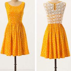 ⚡️sale! Anthropologie Moulinette Soeurs dress EUC Anthropologie Moulinette Soeurs Melora dress, not the yellow one, but the orange one with faint pink polka dots and lace back, such a cute dress, sold out! Perfect for the derby, summer weddings, or any other spring events!  Anthropologie Dresses