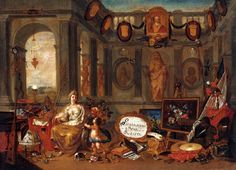Allegory of Europe (central section) by Ferdinand van Kessel, 1689 (PD-art/old), Kunsthistorisches Museum, commissioned by Michał Antoni Hacki (1630-1703), Abbot of Oliwa Monastery and given to John III Sobieski, the King's bust is visible in the left center of the painting