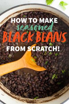 These perfectly seasoned black beans are great on their own with a side of cornbread, or mixed into any number of other recipes. Mexican Food Recipes, Vegetarian Recipes, Cooking Recipes, Healthy Recipes, Mexican Dishes, Cooking Tips, Dried Black Beans, Dried Beans, Other Recipes