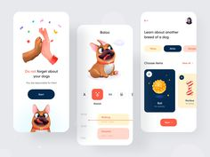 Baloo App For Dogs by Afterglow Ui Design Mobile, Design Ios, Game Ui Design, Dog Design, Mobile Ui, Dashboard Design, Dog Breed Selector, Cat App, Creative Poster Design