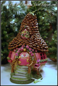 Pink Fairy House  www.alittlefurinthepaint.blogspot.com