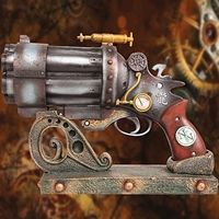 """$45 """"This amazing Steampunk weapon is made of high-quality resin, painted to look like antiqued period metal, finely detailed with gauges and monitors and a red plastic test tube. An affordable way to accessorize your ensembles.  Comes with a Victorian-style stand for display as well."""""""