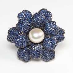Sapphire Flower Brooch with pearl by Rina Limor