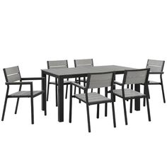 Modway Maine 7 Piece Outdoor Patio Dining Set, Brown Gray - You need this!Features and specifications of Modway Maine 7 Piece Outdoor Patio Dining Set, Brown Gr Contemporary Modern Patio, Modern Outdoor Dining Sets, Outdoor Living, Outdoor Lounge, Outdoor Office, Outdoor Pool, Contemporary Furniture, Outdoor Spaces, 7 Piece Dining Set