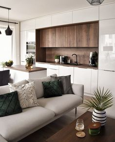 Kitchen Room Design, Modern Kitchen Design, Living Room Kitchen, Home Decor Kitchen, Interior Design Kitchen, Luxury Kitchens, Home Kitchens, Küchen Design, Apartment Interior