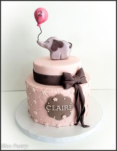 Pink and grey elephant themed birthday