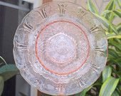 federal petal Glass Plate Flower No-Kill Ever-Blooming garden art ooak repurpose vintage pink. $30.00, via Etsy.