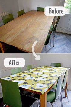 How to use wallpaper to decouple tabletopHow to refresh a tired old table and get a modern look with a decoupage tabletop with wallpaper.Furniture decoupage ideasFurniture decoupage table top with fabric . Kitchen Table Makeover, Home Decor Kitchen, Diy Kitchen, Diy Home Decor, Kitchen Tables, Dining Table, Room Decor, Diy Furniture Projects, Handmade Furniture