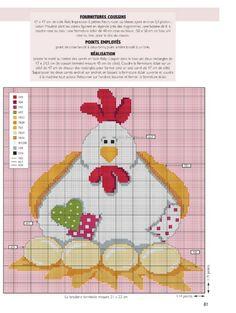 Broderie point de croix poulette de Pâques
