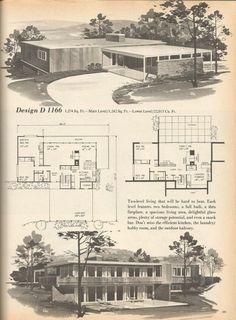 Vintage House Plans Mid Century Homes Vintage House Plans, Modern House Plans, House Floor Plans, Vintage Homes, Modern Houses, Tiny Houses, Vintage Architecture, Amazing Architecture, Architecture Design