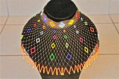 African Zulu Beaded Necklace - WEDDING NECKLACE - Multicolor with orange trim by Hadeda on Etsy