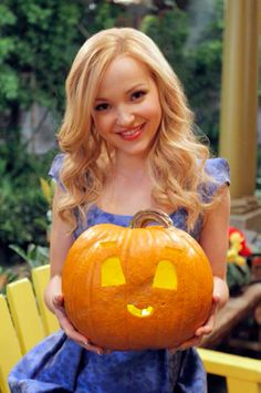 Disney Channel Stars Share Their Halloween Pumpkins! Dove Cameron who plays a main character on Liv & Maddie, took a cute approach to the typical Halloween face by adding bigger eyes and an adorable little mouth.