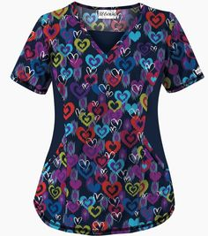 UA Madly In Love Navy Fashion Scrub Top - Style # STN868MN #uniformadvantage #uascrubs #sophiespicks #scrubs #scrubtops #nurse #dental #veterinary #fallfashion #navy