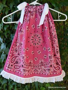 Bandana Pillowcase Dress/ Swing Top Western Toddler Girls Pink Fuchsia w/ eyelet lace ruffle