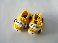 Yellow taxi cars Baby Booties kids slippers by AnatoliaDreams
