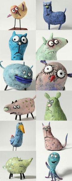 Wacky clay animals.