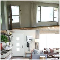 Ideas for how to divide and entryway or front door, foyer from the living room while adding storage and function. Photo source House Tweaking