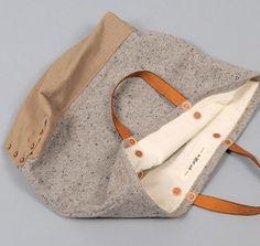 TH-S & CO. DOUBLE LOAF BAG, TAN / GREY WOOL BLEND SLUB TWEED WITH TAN YARN-DYED TWILL BOOT :: HICKOREE'S