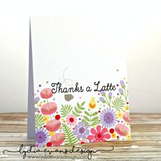 http://lydiaevansdesign.com/2016/03/23/spring-florals-one-layer-card/ One layer floral hand stamped card using MFT (My Favorite Things) Perk Up, Fall Florals and Desert Blooms
