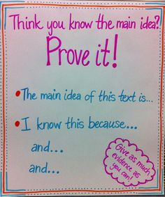 SI.3.2 Determine the main ideas and supporting details of a text read aloud or information presented in diverse media and formats including visually, orally, and quantitatively.   Main idea chart