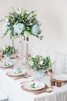 Wedding Tablescape Inspirations Mixing Modern with the Traditional Blue Wedding Centerpieces, Wedding Decorations, Tall Centerpiece, Wedding Tables, Centrepieces, Table Decorations, Making A Wedding Dress, Marriage Decoration, Dusty Blue Weddings