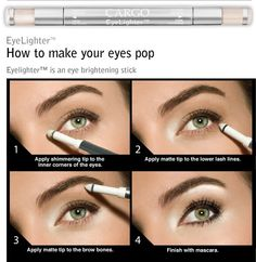 Cargo Eyelighter......How To Make The Eyes Pop..............  One of the oldest makeup artist tricks is to brighten up the inner corners of the eye with a shimmery white (or soft pastel) eyeshadow.  I have heard it called the angel effect or even baby eyes.