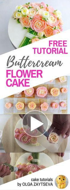 HOT CAKE TRENDS How to make Pink Roses Buttercream bouquet cake - Cake decorating tutorial by Olga Zaytseva. Learn how to pipe tiny jasmine, roses and buds and assemble a buttercream flower bouquet cake in variety of pink shades. #cakedecoratingtutorials