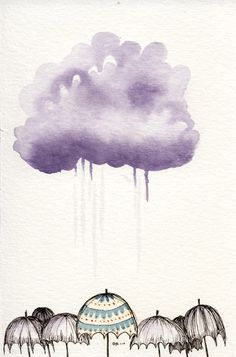 umbrella art is a secret love of mine. Art And Illustration, Illustrations, Watercolor Illustration, Watercolor Clouds, Watercolor And Ink, Watercolor Paintings, Dot Painting, Watercolours, Clouds And Rain