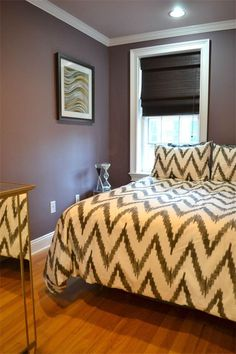 When staging bedrooms, use simple neutral bedding like this Organic Cotton Chevron Bedding from west elm