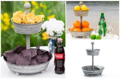 Two-Timer - Two Tier Party Tin It's iron. It's neutral. It's fantastic for any event. And don't limit yourself to just food – stacking these beauties with small succulents, fruit or flowers makes for an eye-catching centerpiece. Let your imagination run wild!