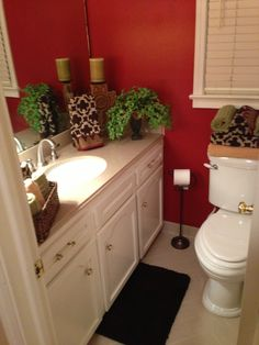 Small Bathroom Decorations With Red Bay Paint From Sherwin Williams. The  Color Scheme Is Red, Gold, Avocado Green And Chocolate Brown!