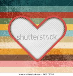 Paper heart on retro background with stripes by Chuhail, via ShutterStock