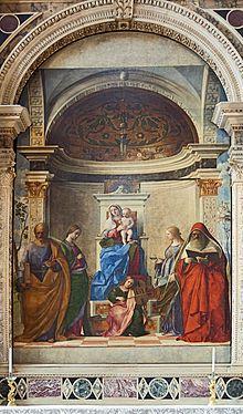 Giovanni Bellini, San Zaccaria Alterpiece, 1505. Fabulous use of architecture to enhance illusion.