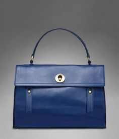 YSL Yves Saint Laurent Muse Two 2 LARGE Tote Bag, Navy Leather Satchel #YvessaintLaurent #HandBag